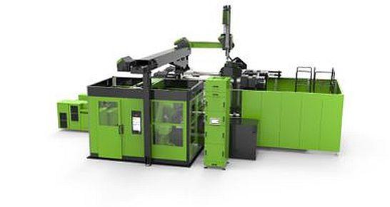 Die neue Anlage der Firma Engel integriert auf kompakter Fläche Roboter sowie alle notwendigen vor- und nachgelagerten Prozesseinheiten wie eine Laserbeschnitt-Zelle easiCell und ermöglicht damit die vollautomatisierte Produktion von Decoject-Bauteilen. Foto: Engel